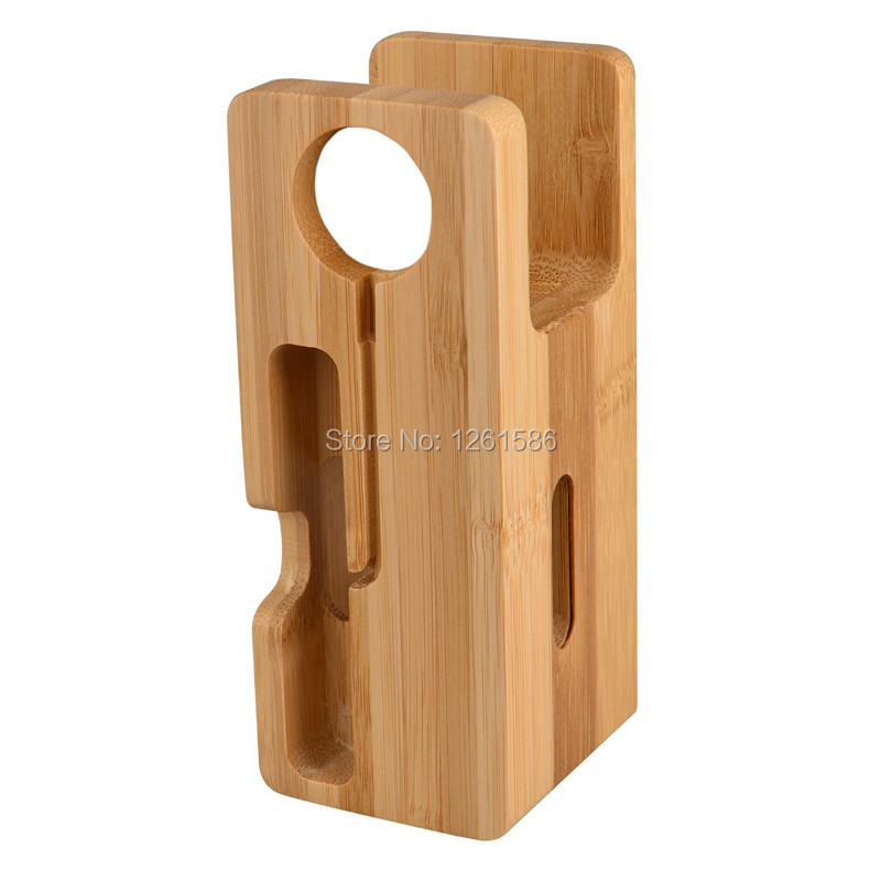 Apple Watch Stand Bamboo, Universal Iphone Wood Charging Dock Station Charger Holder (Bamboo)