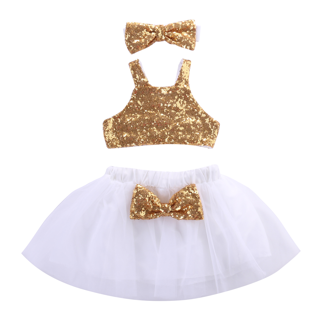ddf3cbaab5 2018 Christmas Toddler Kids Baby Girl Sequins Tops+Tutu Lace White ...