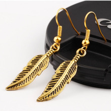 Women Vintage Drop Earrings Antique Silver Gold Color Cute Leaf Pendants Trendy Accessories Classic