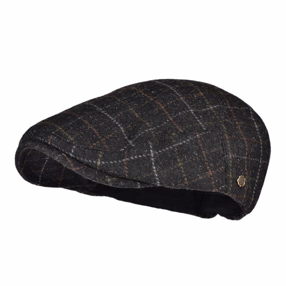 VOBOOM Otoño Invierno negro mezcla de lana Newsboy Cap hombres clásico lana  plana hiedra tapa Color 5f34e0ceec4