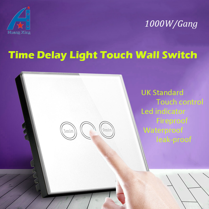 HUANGXING New 1000w Timer Delay light Touch Switch (3-9min Time Delay), UK Standard Crystal Glass Panel Wall, with LED indicator dc 12v led display digital delay timer control switch module plc automation new