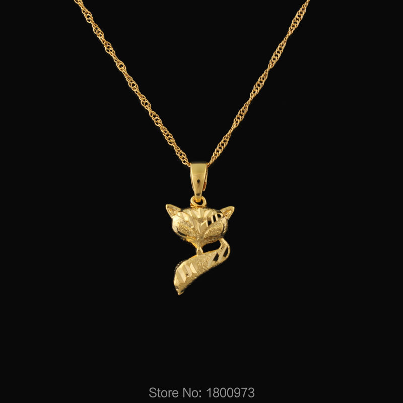 Newest Cute Fox Pendant For Girl Women 22K Gold Color Animal ...