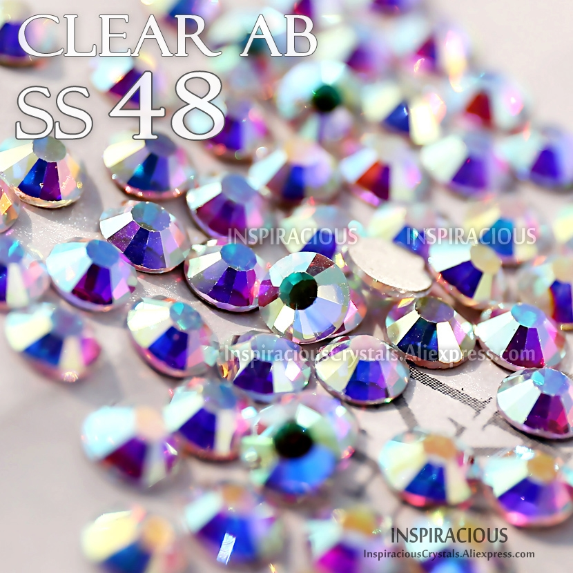 SS48 144Pcs/Bag Clear AB Nail Designs Rhinestones manicure crystals for sequins nails art decoration Non HotFix glitters stone ss6 1440pcs nail art rhinestones for nails 3d manicure decoration non hotfix glue on nails crystal flatback stone diy decoration