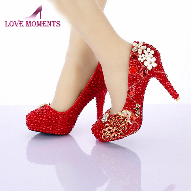 459e57a991296 US $72.37 23% OFF|Red Pearl Bridal Shoes 2018 New Design Phoenix Girl  Wedding Shoes 4 Inch High Heel Anniversary Party Pumps Birthday Party  Shoes-in ...