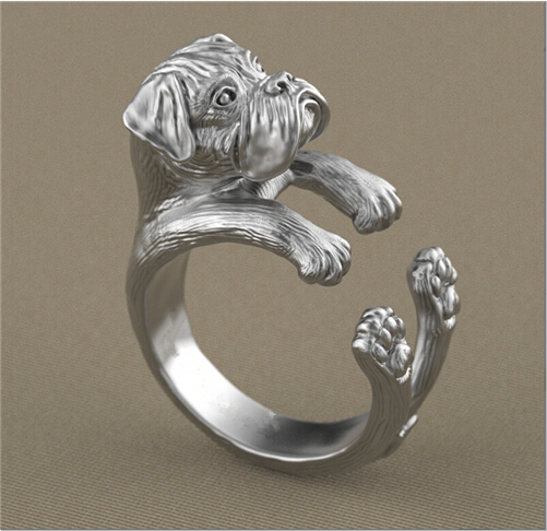 Newest Listed Retro Handmade Boxer Dog Ring Pet Dog Ring Gift Idea