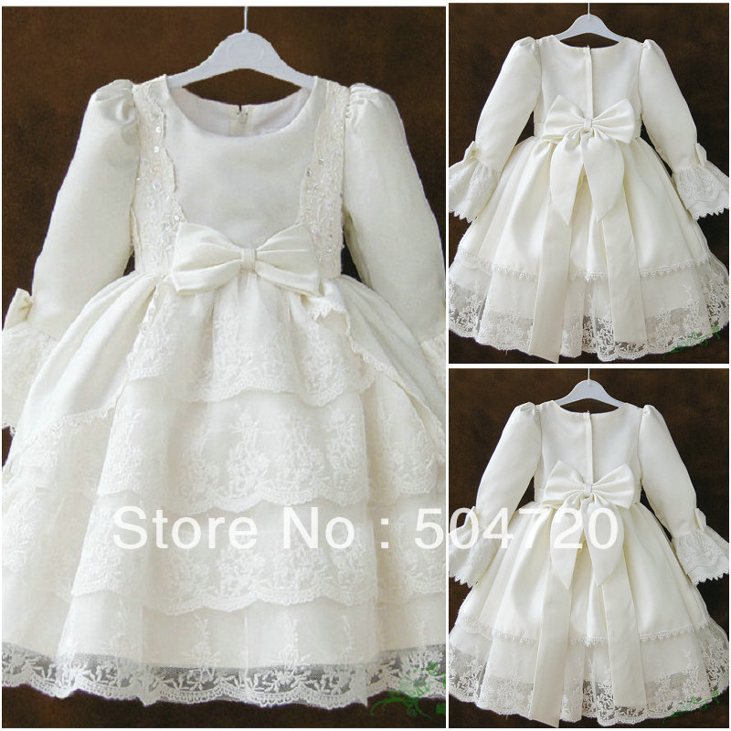 F-21 White Satin Flower girl Lolita Dress/victorian dress Floor-length dress/Scarlett costume