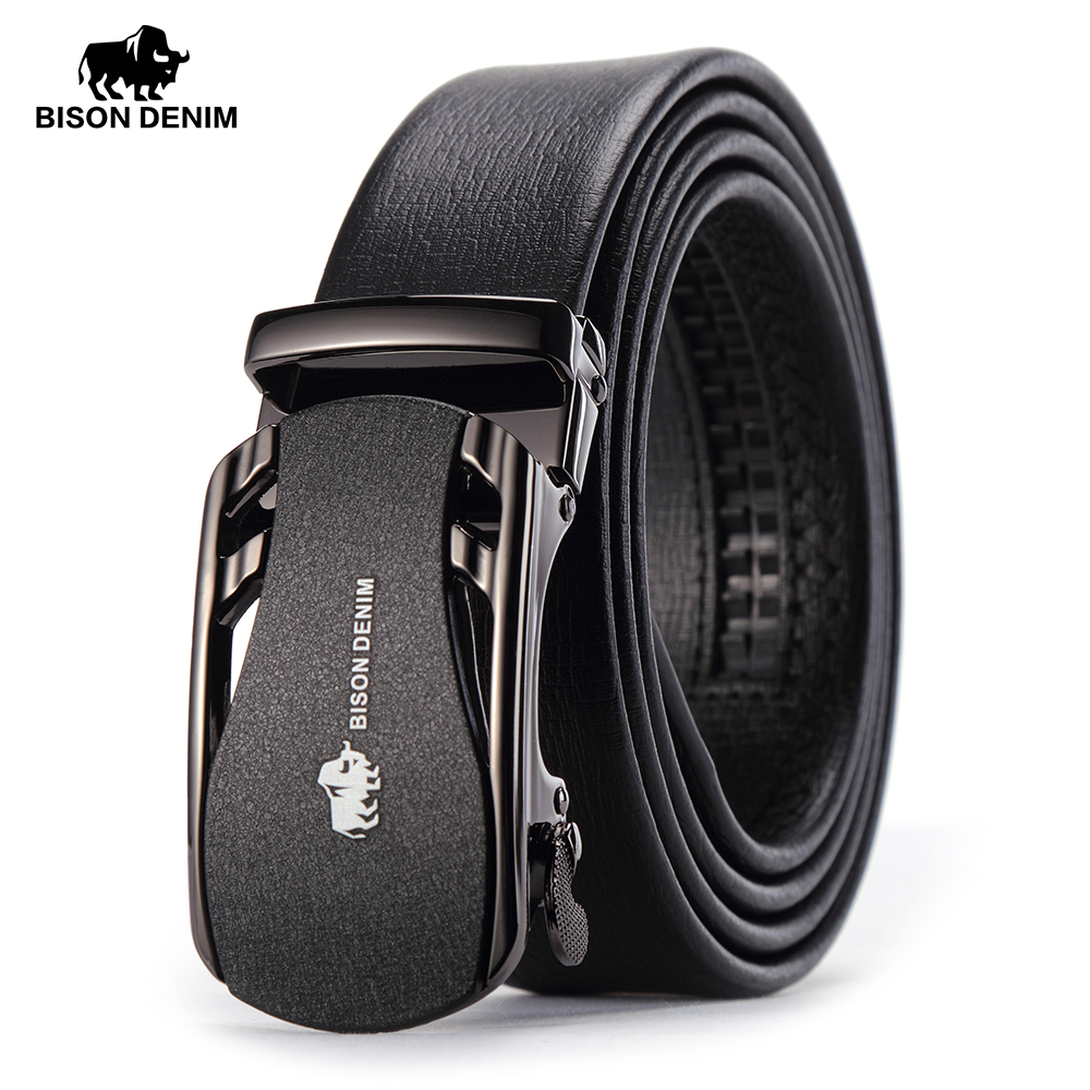 BISON DENIM   Belts   For Men Genuine Leather Cowskin Black   Belt   Automatic Buckle High Quality Business Male Men's   Belts   N71319