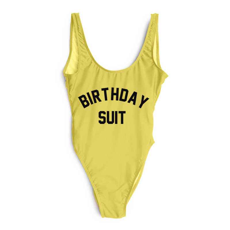 fe9bf22e911d4 ... Swimwear Women BIRTHDAY SUIT Party One piece Swimsuit Jumpsuits Letter  Print Funny Monokini Bodysuits Rompers plus ...