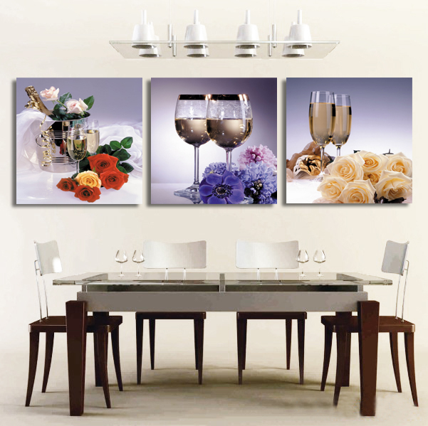 3 Piece Kitchen Canvas Painting Goblet Flower Restaurant Decoration Home Decorative Art From Reliable Suppliers On Maca