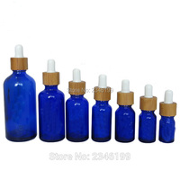 5 ml 10 ml 15 ml 20 ml 30 ml 50 ml 100 ml 푸른 유리 에센셜 오일 포장 병  대나무 dropper 유리 피펫과 푸른 유리 병