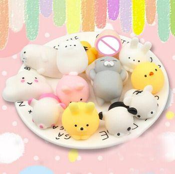 10PCS DIY Anti-stress Healing Toys Gifts For Children Adult Random Squishy Phone Straps Slow Rising Kawaii Cute Animal