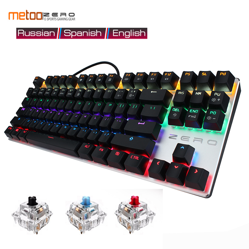 Gaming Mechanical 87/104 Keyboard Anti-ghosting Luminous Blue Red Black Switch Backlit LED wired Russian/French/Spanish/Arabic metoo mechanical keyboard 87 104 anti ghosting luminous blue black switch led backlit wired gaming keyboard russian stickers