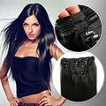Clip en la Virgen Brasileña Natural Del Pelo Negro Belleza Tic Aplique Tic Tac Cabelo humano 120-160g Ali Belleza Negro Viernes ofertas