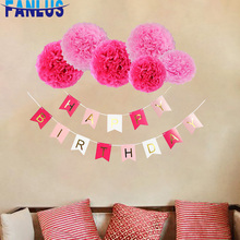 19pcs/set Pink Paper Artificial Flower Pompoms Baby Shower Boy Girl Happy Birthday Banner Party Decorations First Decor