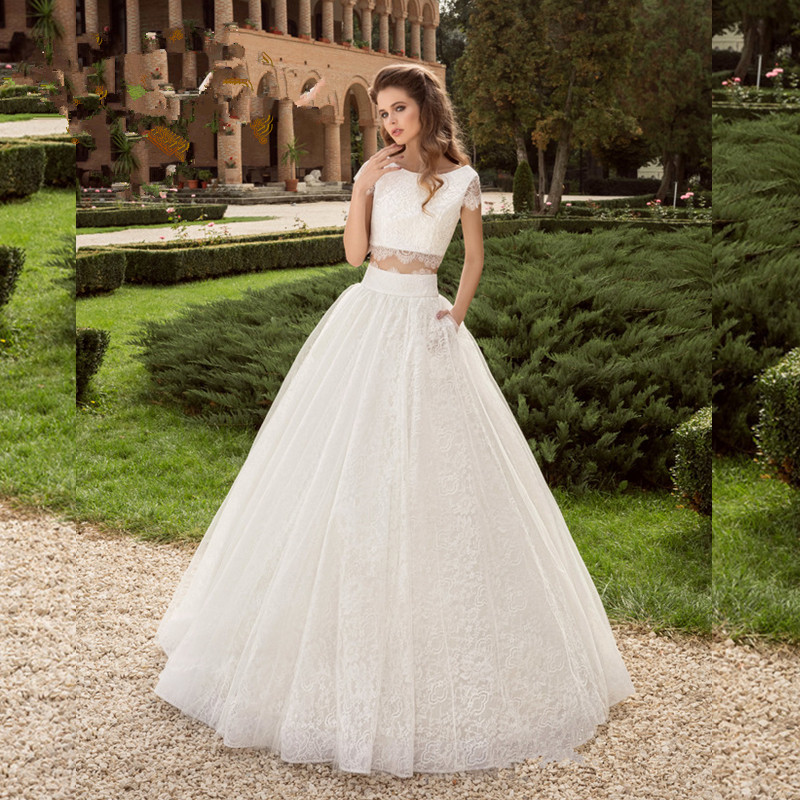 Lace Crop Top Two Piece Wedding Dresses Scoop Short Sleeves Sweet