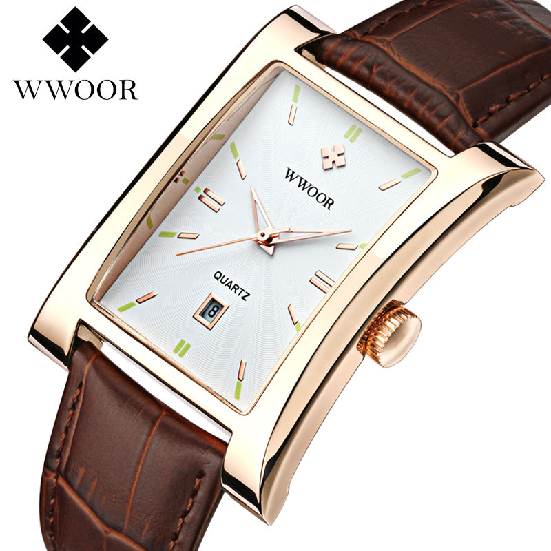 WWOOR Men Watch Ultra thin Square Quartz Watch Sport Watches For Men Waterproof Casual Mens Leather Wristwatch relogio masculino цена и фото