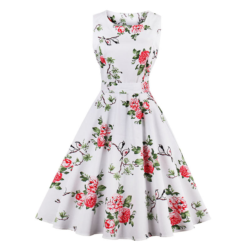 Kostlish 9 Style Print Summer Dress Women 2017 Sleeveless Swing 1950s Hepburn Vintage Tunic Dress Elegant Party Dresses Sundress (30)