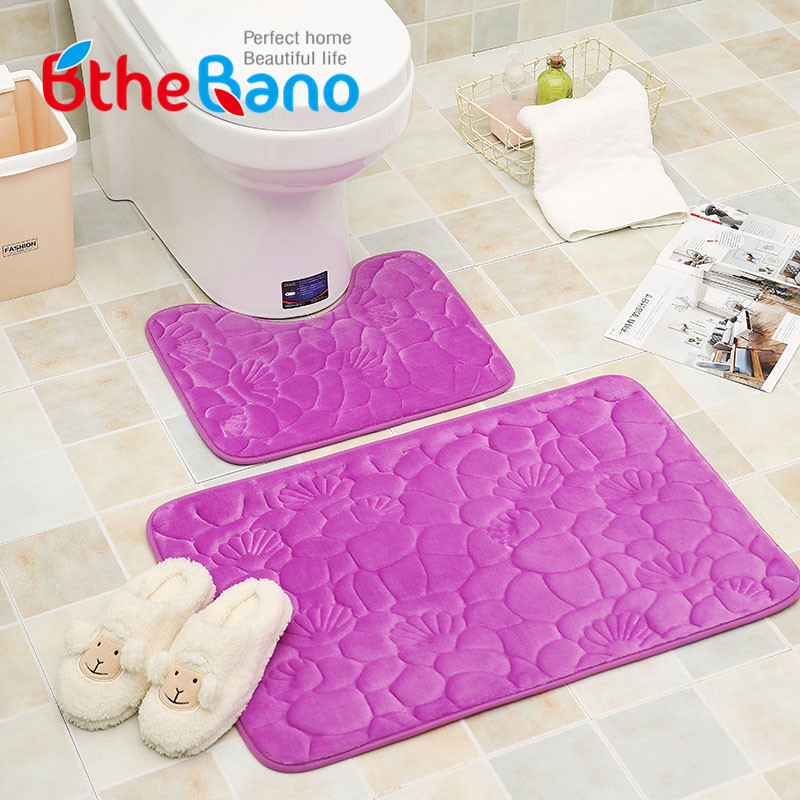 2pcsset seashell design flannel floor bathroom mat rug set nonslip toliet bath - Bathroom Carpet