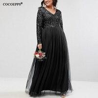 5XL 6XL 2018 Autumn Plus Size Women Long Dress Winter Sexy V Neck Mesh Sequined Big Size Dress Elegant Evening Party Maxi Dress