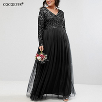 5XL 6XL 2018 Autumn Plus Size Women Long Dress Winter Sexy V Neck Mesh Sequined Big Size Dress Elegant Evening Party Maxi Dress