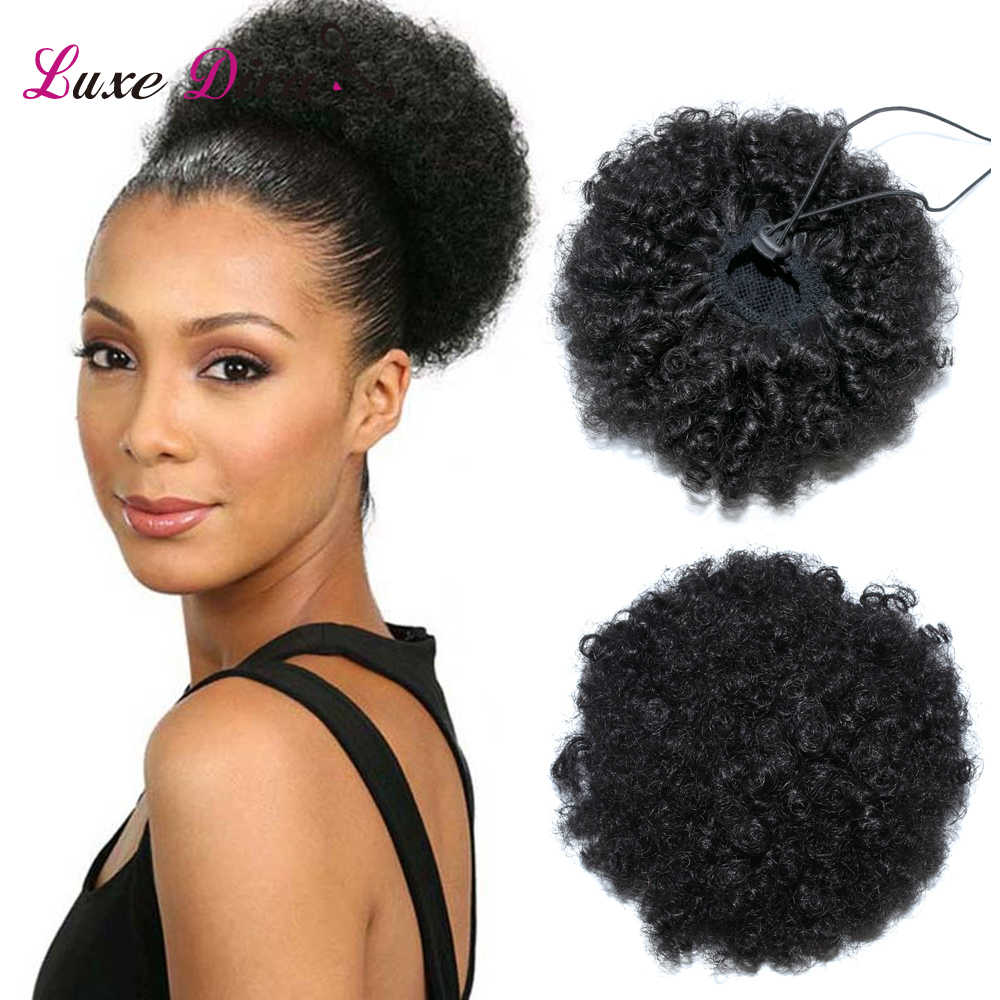 LUXE DIVA Puff Afro Short Kinky Curly Chignon Hair Bun Drawstring Ponytail Wrap Hairpiece Brazilian Remy Human Hair Extensions