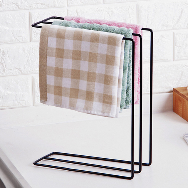 Multi Function Vertical Iron Desktop Towel Rack Bathroom Countertop Storage Organizer Drain Drying Kitchen
