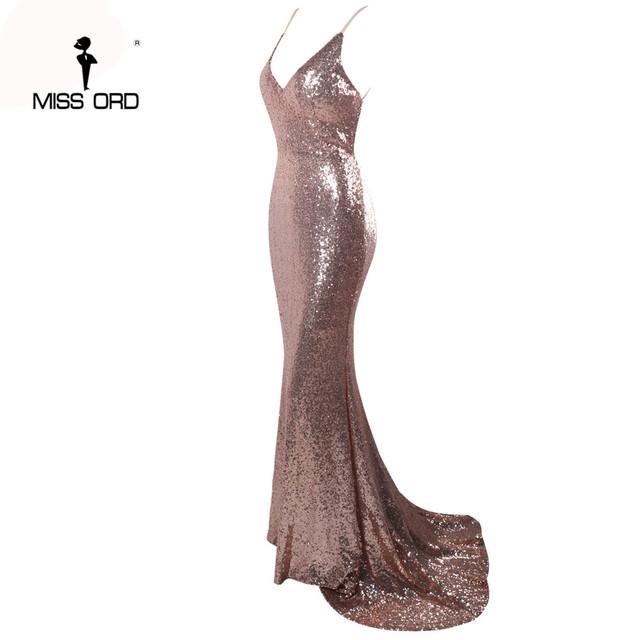 Missord 2017 Sexy halter  V-neck  party dress sequin maxi dress FT4173