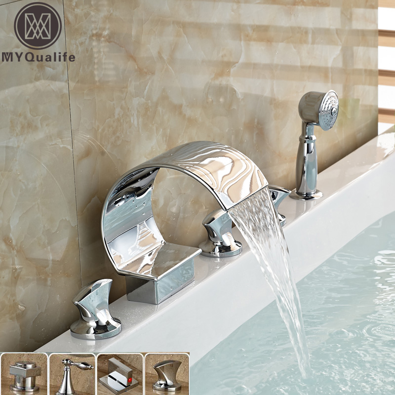 Widespread Polished Chrome Waterfall Bathroom Tub Sink Faucet Three Handles Pull Out Handshower Bathtub Shower Set