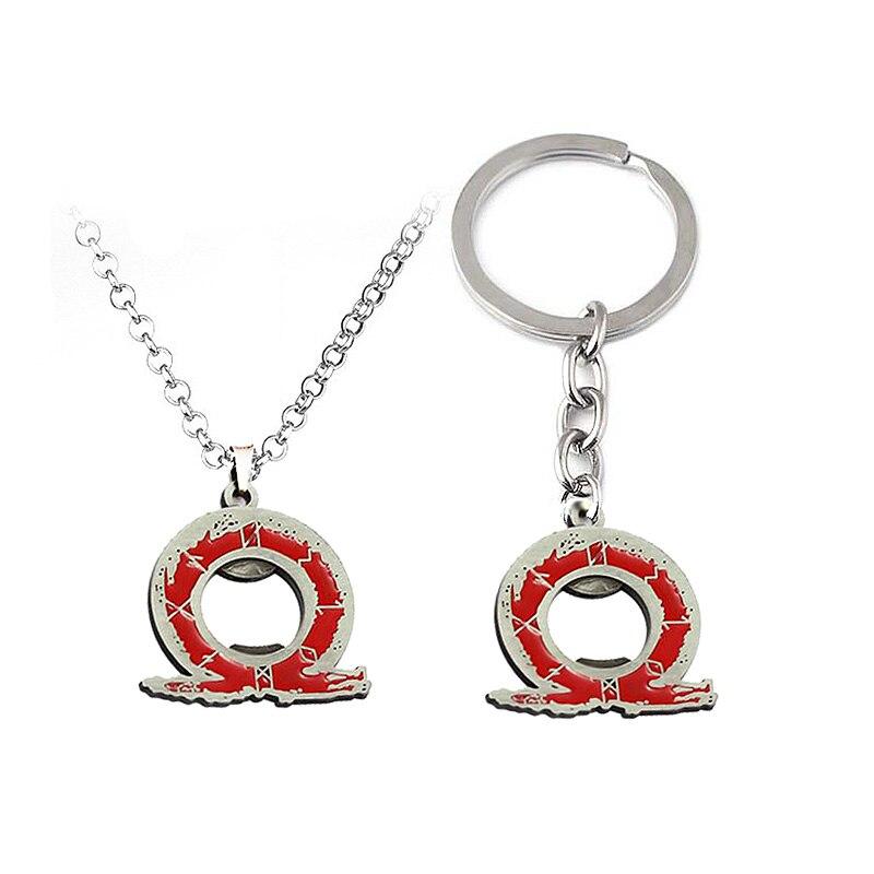 Game Jewelry Game god of war 4 Kratos Necklaces Game Logo Red Enamel Horseshoe Pendant metal Charm Choker Men Jewelry