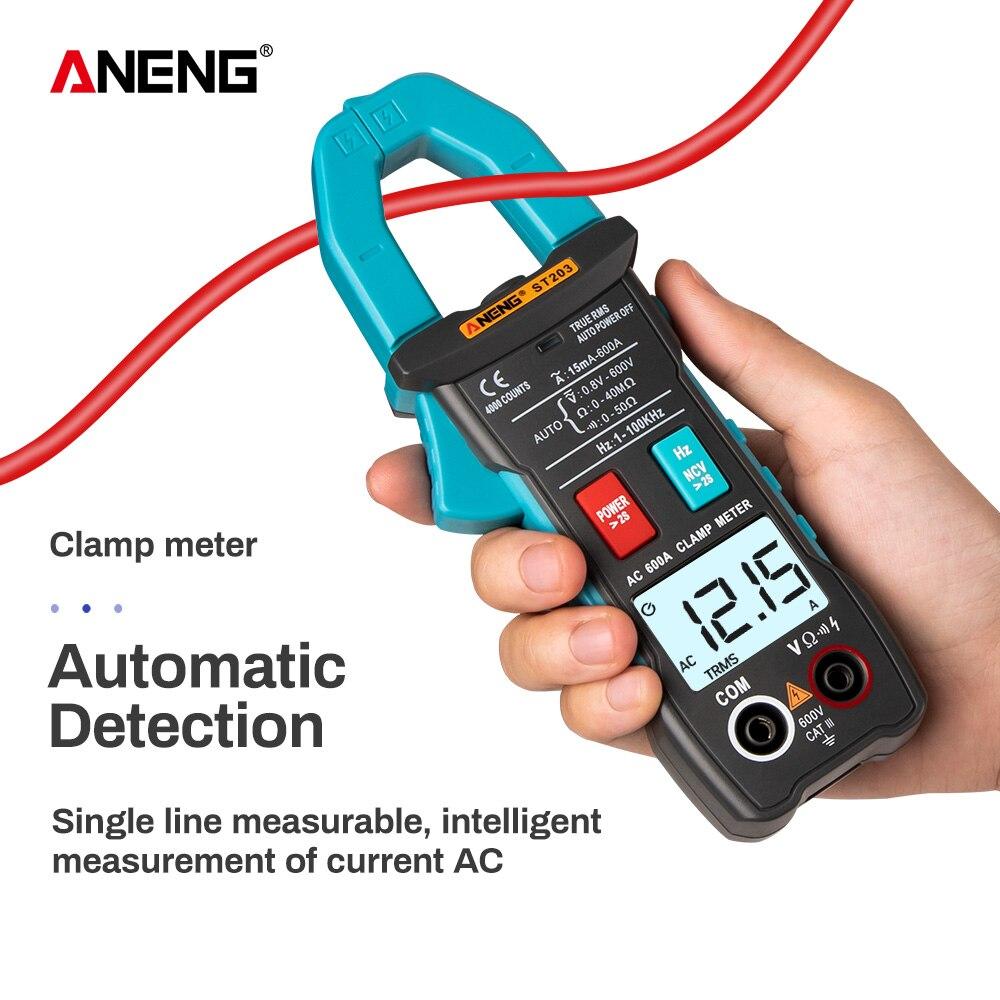 Aneng st203 digital braçadeira medidor multímetro 4000 contagens rms verdadeiro mini amp dc/ac braçadeira medidores voltímetro 400v faixa automática