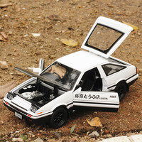 Children's Alloy Car for trueno AE86 Simulation Car Model 4 Open Door 1:32 Sound Light Pull Back Diecast Toy Car Auto Speelgoed