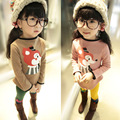 Free shipping children cotton sweatshirt cartoon fox plus thick velvet girls bottoming children clothing