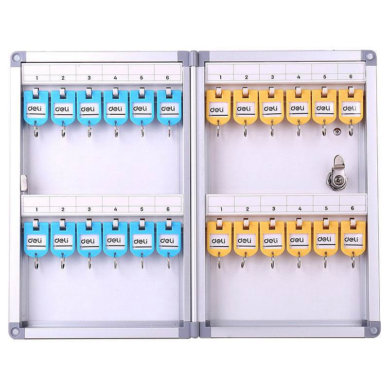 Deli 50800 Metal Key Management Box 24 Keys Aluminium Alloy Management Storage Box Wall Mounting Type Key Box