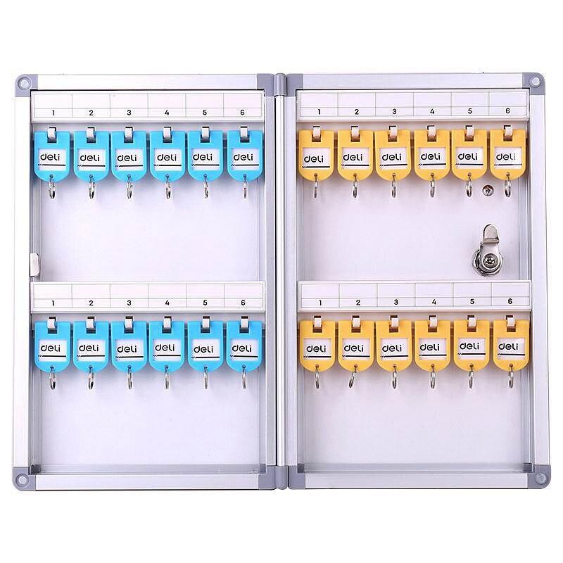 Deli 50800 Metal Key Management Box 24 Keys Aluminium Alloy Management Storage Box Wall Mounting Type Key Box