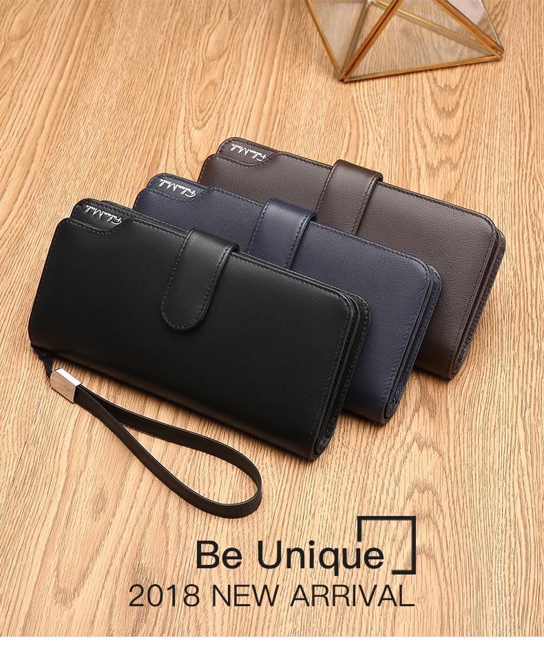 Topdudes.com - Hot Sale Luxury Genuine Leather Men's Clutch Long Wallet