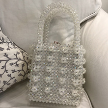 купить Brand Handmade Pearl Bags for Women Crystal Bags Box Totes Top Handle Beaded Handbags Bride Bag Purses Evening Party Clutches по цене 2166.92 рублей