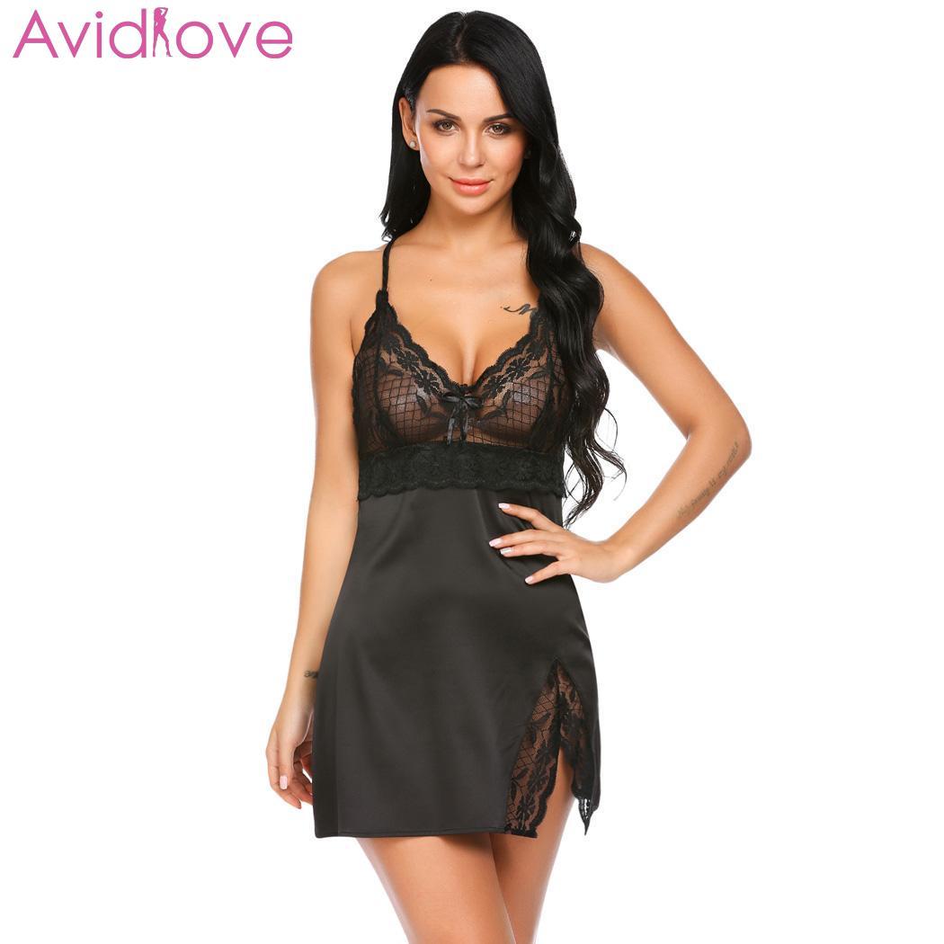 Buy Avidlove Women Nightwear Nightgown Nighty Night Dress Lace Patchwork Sexy Spaghetti Strap Chemise G-string Lingerie