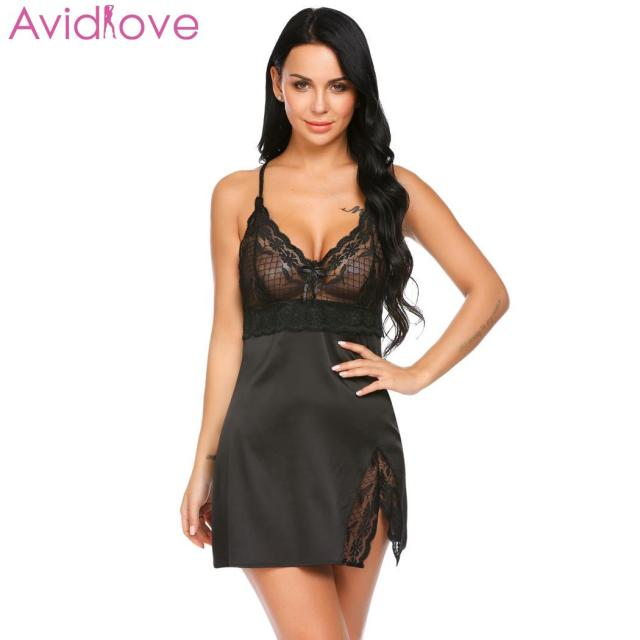 350ff082ec Avidlove Women Nightwear Nightgown Nighty Night Dress Lace Patchwork Sexy  Spaghetti Strap Chemise G-string Lingerie