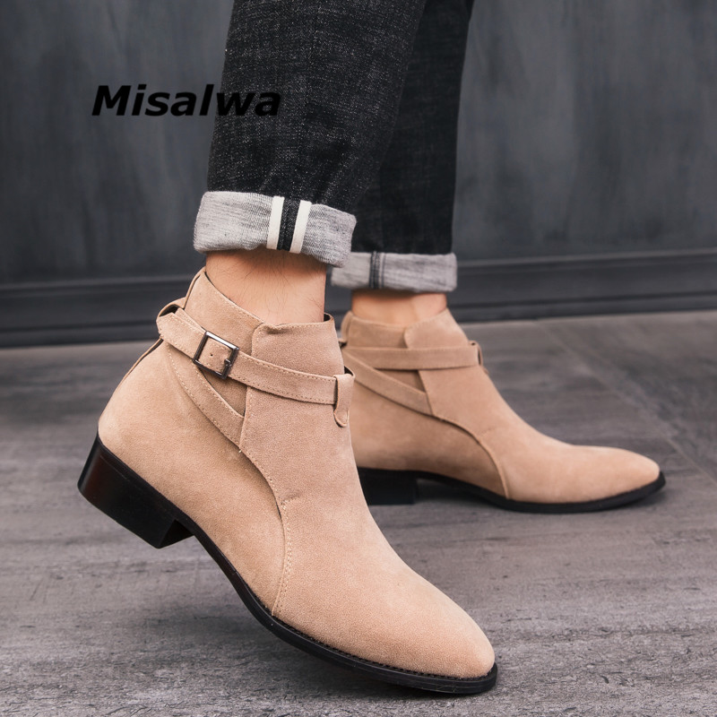 Misalwa Mens Leather Chelsea Boots Pointed Toe Buckle Strap Ankle Boots Shoes Fashion Rome Male Autumn Casual Botas Hombre