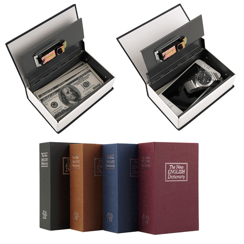 Book Safes Simulation Dictionary Secret Metal Steel Cash Secure Hidden Piggy Bank Money Jewelry Storage Collection Box Size XS giantree portable money box 6 compartments coin steel petty cash security locking safe box password strong metal for home school