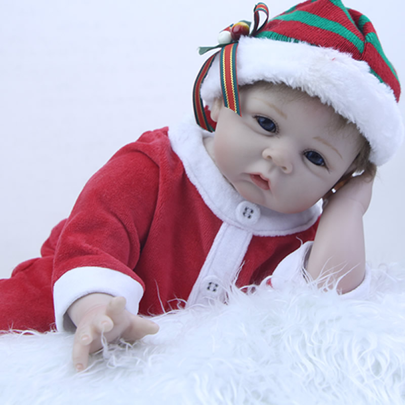 Blue Eyes 22 Inch Newborn Realistic Babies Dolls Soft Silicone Reborn Doll Kids Cloth Body Baby Toy Kids Christmas Gift can sit and lie 22 inch reborn baby doll realistic lifelike silicone newborn babies with pink dress kids birthday christmas gift