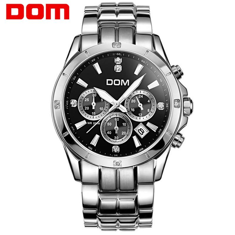 2016 DOM Man Wristwatch Quartz 200m Waterproof Auto Date Watch For Men Luxury Casual Man Stainless Steel Men Watch Dress Clock