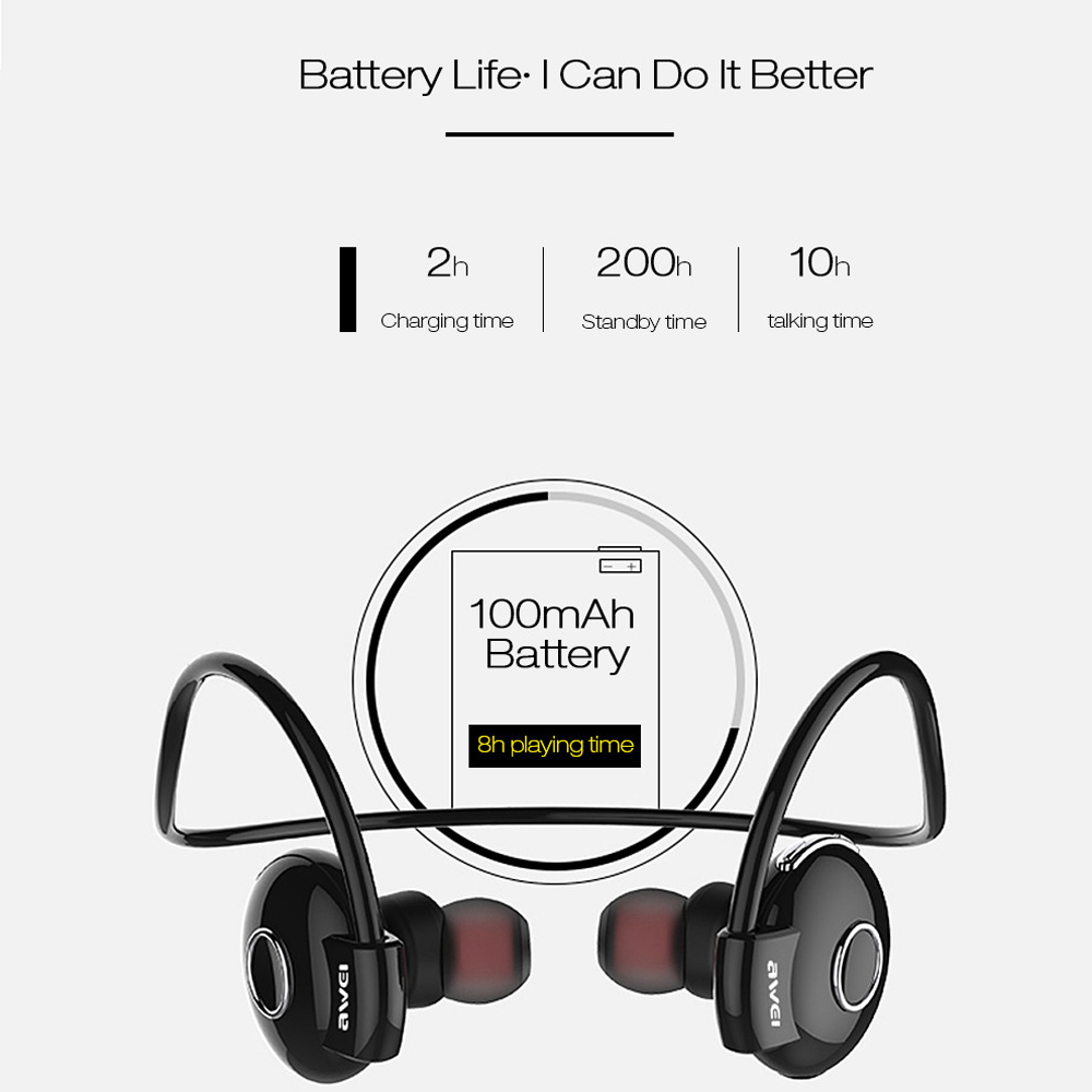 Awei Blutooth Sport Wireless Headphone In-Ear Auriculares Bluetooth Earphone For Your In Ear Phone Bud Running Headset Earbud 5