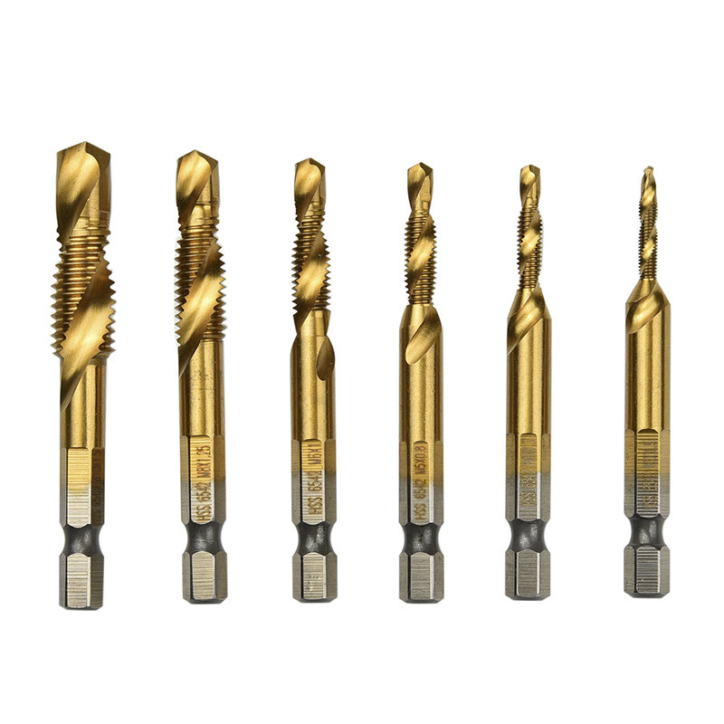 6pc Titanium Combination Tap Drill M2 Hss Screw Spiral Point Thread Metric Plug Drill Bits M3-M10 Metal Steel Cut 1/4 Hex Shank 4pc set hexagon handle compound tap drill hex shank hss screw spiral point thread metric plug drill bits m3 m4 m5 m6
