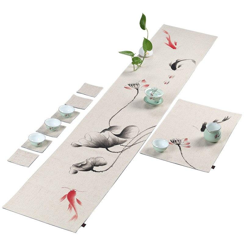 Style chinois peint à la main Lotus coton chanvre thé tapis maison dîner bureau Pad Vintage Teaware coussin accessoire Table coureur couverture
