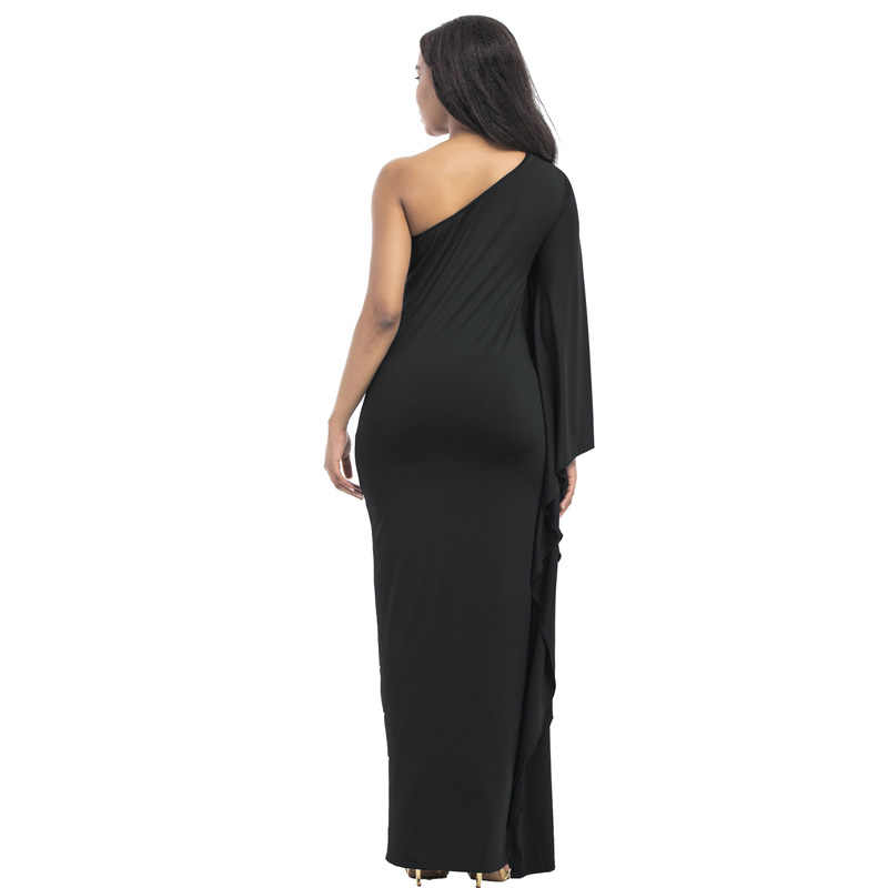 7706a5db2214a 2018 Autumn White Black Plus Size 3XL Sexy Dress High Elastic One shoulder  Evening Party Long Dresses Robe Large Size vestidos