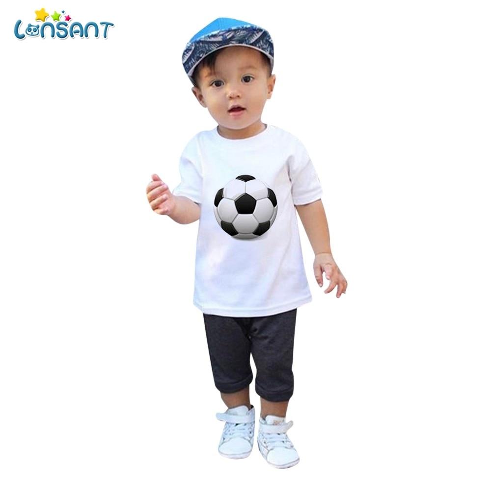 LONSANT Baby shirt Children Infant Kid Girls Boys 2018 Football Soccer Print Casual T-shirt Tops Shirts summer boys