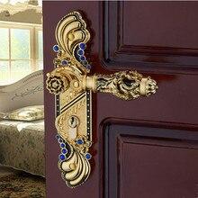 Евро античном стиле Роскошные Кристалл архаическим номер ручка с замком Gold diamond деревянная дверь замок 2 latchs Крытый ручка с замком