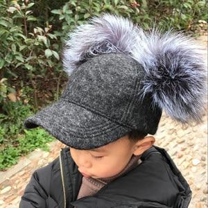 Image 3 - Real Silver Fox Fur Pompom Winter Hat For Women Kids Cartoon Two Pom Poms Baseball Caps Brand Snapback Hip hop Hat Cap