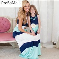 Popular summer Mommy and me clothes family matching mother daughter long dresses striped mom dress kids child outfits C74